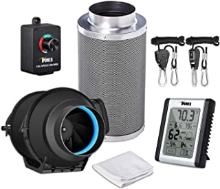 iPower GLFANXEXPSET4CHUMD 4 Inch 150 CFM Inline Carbon Filter with Fan Speed Controller and Temperature Humidity Monitor Grow Tent Ventilation, 4