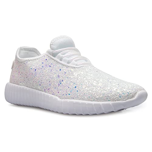 13243f1a02a0 OLIVIA K Womens Easy On Casual Fashion Sparkly Glitter Sneakers - Comfort