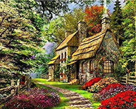 YEESAM ART DIY Paint Numbers Adults Beginner Kids, Forest Fairy Tale House Flowers & Trees 16x20 inch Linen Canvas Acrylic Stress Less Number Painting Gifts (Forest, Without Frame)