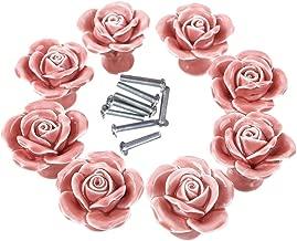 BaodeLi 8PCS White/Pink Ceramic Vintage Floral Rose Door Knobs Handle Drawer Kitchen + Screw (Pink)