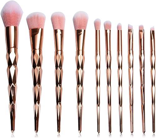 lowest Makeup Brush Set for lowest Eyeshadow wholesale Foundation Blush and Concealer Synthetic Foundation Blush Concealer Liquid Eyeshadow Makeup Brush Set of 10(Rose Gold) outlet online sale