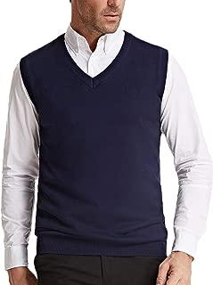 PAUL JONES Men's V-Neck Knitting Vest Classic Sleeveless Pullover Cardigan Sweater