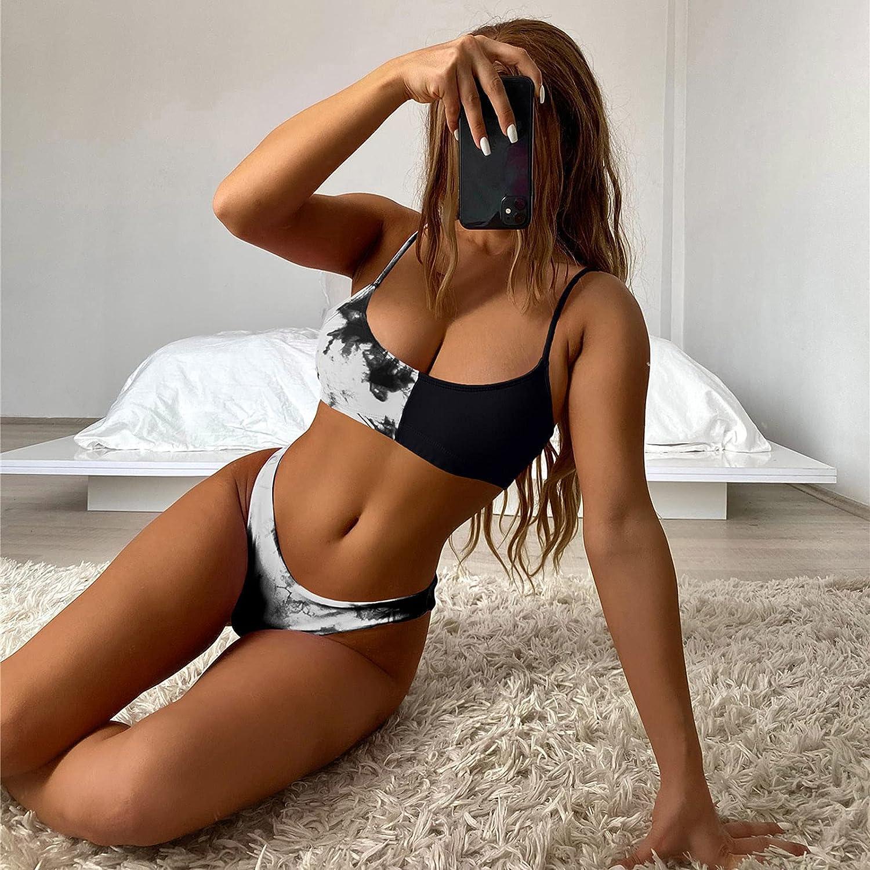 BEUU Women Split Swimsuits Beachwear Padded Swimwear Sets Irregular Tie Tie-Dyed Sexy Bikini Set Two Piece Swimwear