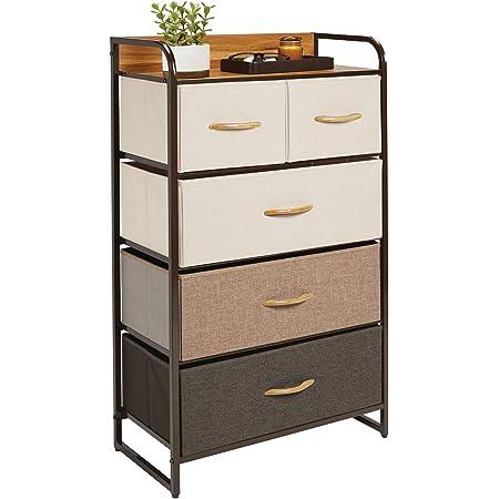 mDesign commode à 5 tiroirs – étagère à tiroirs haute pour la chambre, le salon, l'entrée, la salle de bain, etc. – rangement vêtements en métal, MDF et tissu – multicolore/marron