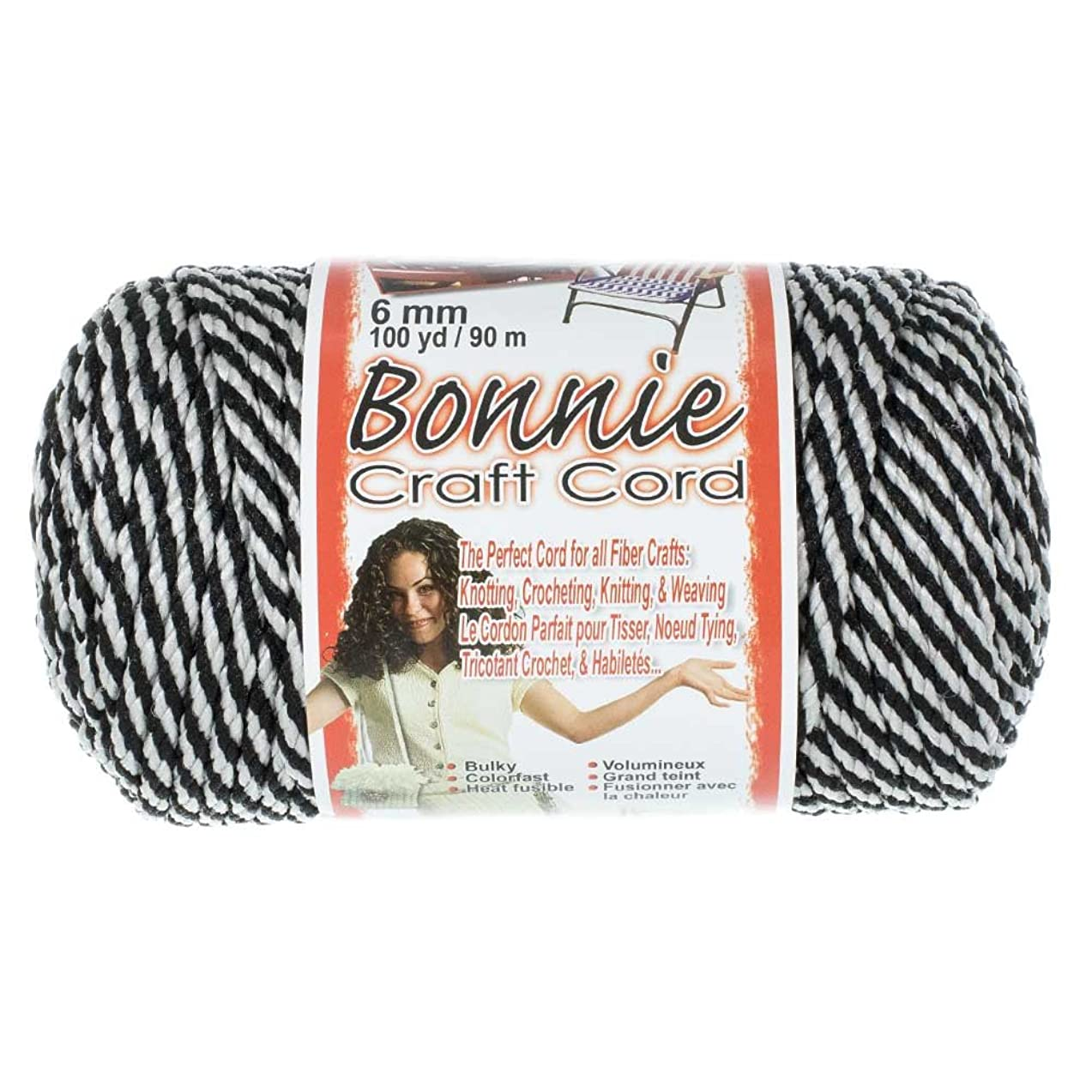 Bonnie 6mm Crafting Cord - for Macramé and Other Crafts - 100 Yard Spools (Black Licorice)