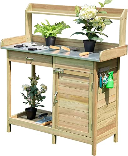 lowest Giantex Potting Bench Table for Outside Natural Wood Garden discount Plant Lawn Patio outlet online sale Table Storage Shelf Moisture Free Metal Tabletop Outdoor Workstation Flower Pot Bench (Natural Fir w/Cabinet) online
