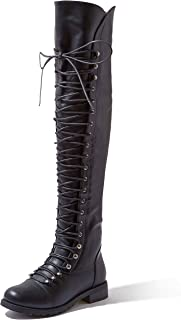 Women's Lace Up Thigh High Boots - Vegan Easy Lace Up Design with Zipper Trendy Military Style Boot