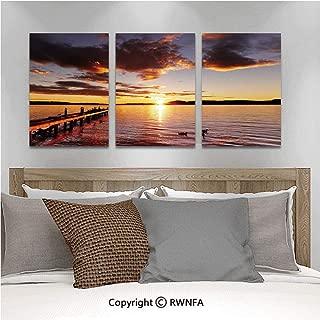 Canvas Wall Art HD Lake Rotorua Dramatic Sunrise North Island New Zealand Morning Scenic Scenery Modern Canvas Prints Painting Artworks Oil Painting Decorative,15.7