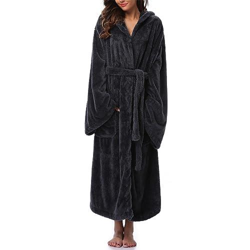 VIKEY Long Hooded Bathrobe for Women s Plush Coral Velvet Robe Soft Pajamas  Shower Nightgown 1bb8e04ffcd5