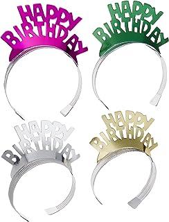 Creative Converting Foil Tiaras 4/Pkg, Happy Birthday Assorted Colors