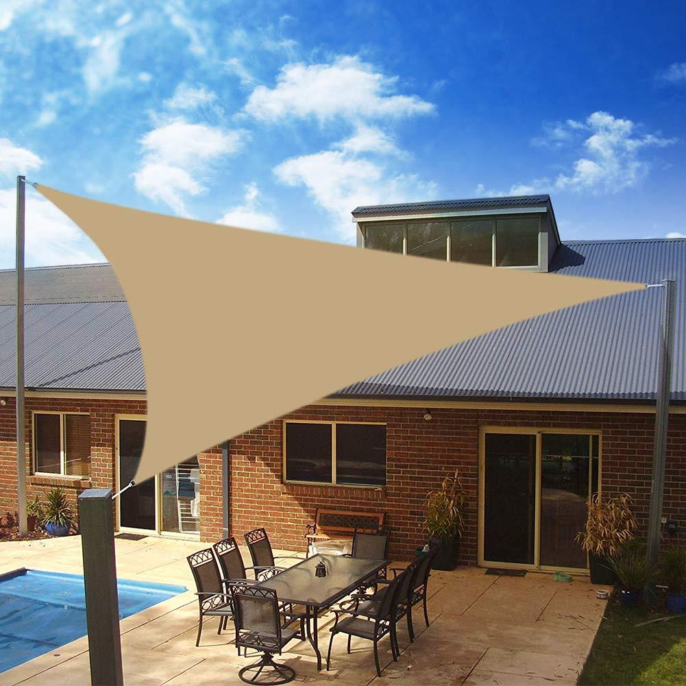 Yeahmart SHADE Toldo Vela de Sombra Triangular 3 x 3 x 3m, protección Rayos 98% UV y HDPE Transpirable para Patio, Exteriores, Jardín, Color Arena: Amazon.es: Jardín