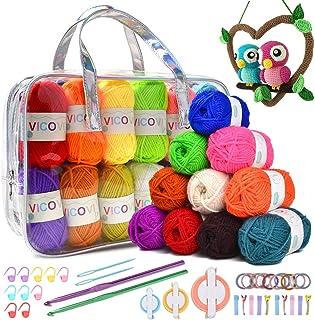 VICOVI 1000+Yard Acrylic Yarn Kit for Crochet&Knitting Craft with 24 Assorted Colors,2 Crochet Hooks,2 Mint Plastic Knitti...