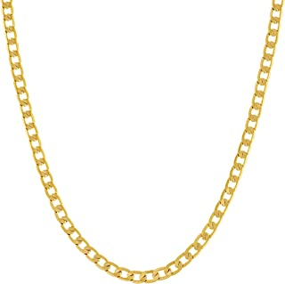 LIFETIME JEWELRY 3mm Thin Flat Cuban Link Chain Necklace 24k Real Gold Plated