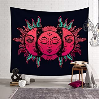 QCWN House Decor Tapestry,Psychedelic Moon and Sun Pattern Oriental Image Asian Culture Inspired Design Print, Wall Hanging for Bedroom Living Room Dorm, 79x59Inc, Black White