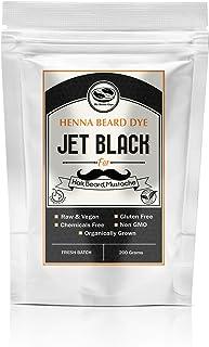 Jet Black Henna Beard & Hair Dye for Men-100% Chemical Free & Natural for Hair, Beard, Mustache- 2 Step Process (1 Pack, Jet Black)