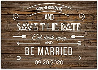 Wood Dark Save The Date Wedding Invitations
