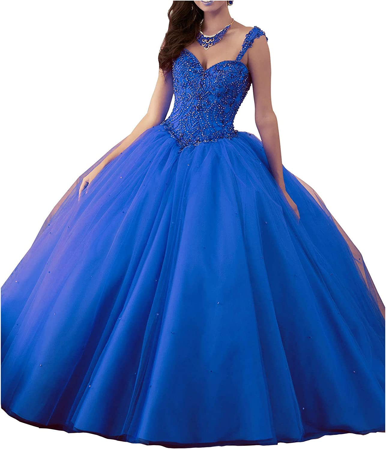 Yang Sweetheart Women's Beaded Ball Gowns Tulle Girls 16 Quinceanera Dress