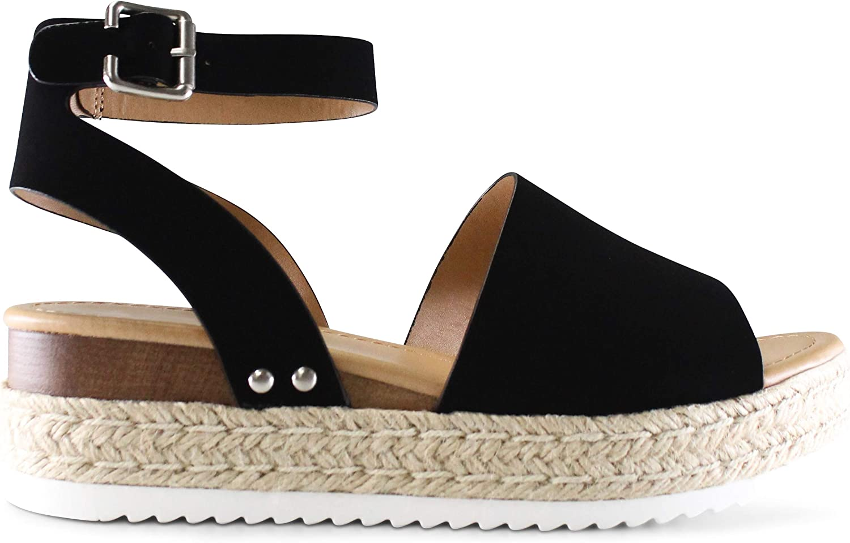 Toronto Women's Open Toe Genuine Ankle Wedge Espadrille Sandal cheap Strap