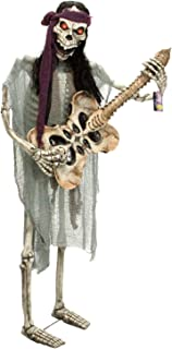 Halloween Haunters Life-Size Standing Skeleton Zombie Man Guitar Bass Player Musician Rock Band Prop Decoration - Thick Rubber Latex