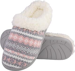 Evshine Women's Memory Foam House Slippers Knit Fleece Lined House Shoes