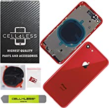 CELL4LESS Back Housing Assembly Metal Frame w/Back Glass - Wireless Charging pad - Sim Card Tray, Camera Frame and Lens for iPhone 8 (Red)