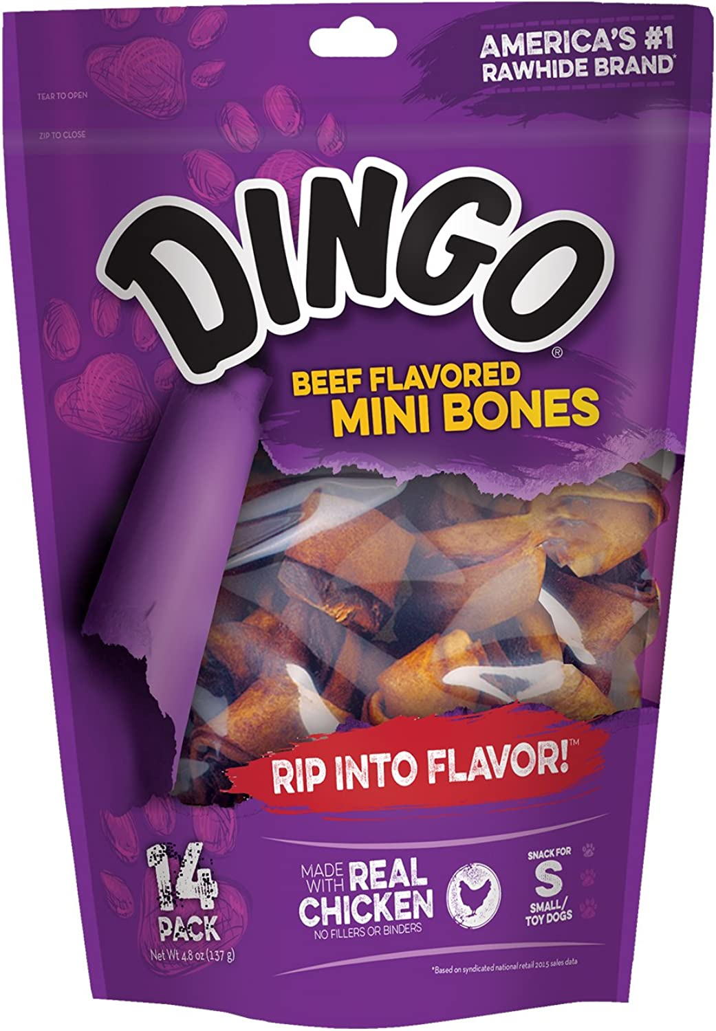 Dingo Beef Flavored Mini Rawhide Bones for Small Toy Dogs, 14Count