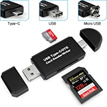 Card Reader, Splaks 3 in 1 SD Card Reader Micro OTG USB Card Reader USB C Card Reader Micro SD for SDXC, SDHC, SD, MMC, RS-MMC, Micro SDXC, Micro SD, Micro SDHC Card, UHS-I Card with 2 Slots Compatible for Windows, Android, Mac, Linux
