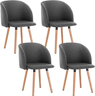 WOLTU 4X Sillas de Comedor Nordicas Estilo Vintage Dining Chairs Juego de 4 Sillas de Cocina Tulip Sillas Tapizadas en Lin...