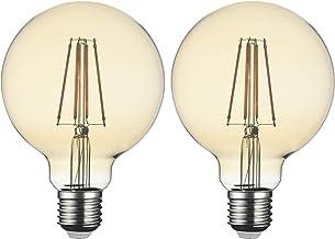 SD LUX LED Light Bulb E27 ES Globe G95 Amber 8W 850LM Filament Lamps, Replaces 80W Filament Bulb, 2700K Warm White Bulb, S...