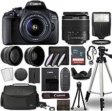 بدنه دوربین دیجیتال Canon EOS 2000D / Rebel T7 دیجیتال SLR با کیت Canon EF-S 18-55mm f / 3.5-5.6 Lens 3 Lens DSLR همراه با کیف لوازم جانبی کامل 64 GB حافظه فلش