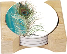 CounterArt Absorbent Coasters in Wooden Holder, Elegant Peacock, Set of 4