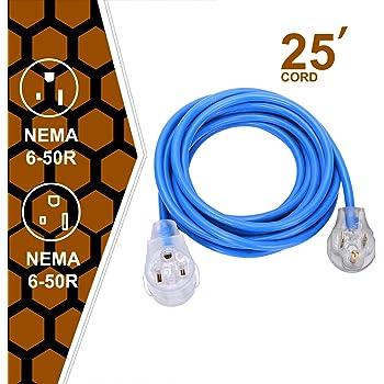 Welder Extension Cord 50a Plug 3 Prong 250 Volt 6 50p 6 50r Sjt 3 C 12awg Replaceable 8awg Blue Welder Extension Cords 25 Welding Machine Heavy Duty Cords Amazon Com
