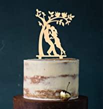 Cake Topper paar aan boom kus, taartprikker, taartfiguur acryl, bruiloft bruiloft bruidstaart (hout) art.nr. 5100