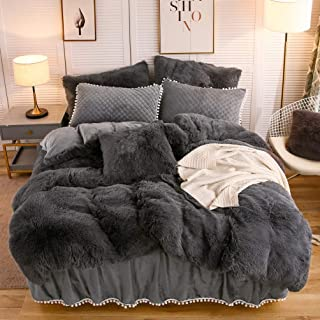 LIFEREVO Luxury Plush Shaggy Duvet Cover Set (1 Faux Fur Duvet Cover + 1 Pompoms Fringe Pillow Sham) Solid, Zipper Closure (Twin, Dark Gray)