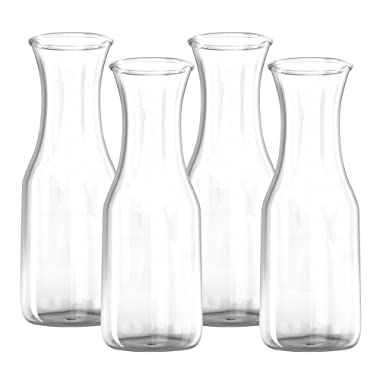 34 oz Glass Carafe - 4 Pack - Drink Pitcher and Elegant Wine Decanter, Comfortable Grip with Narrow Neck Design, Wide Opening for Easy Pouring - Great for Parties and Events, 1 Liter – Kitchen Lux