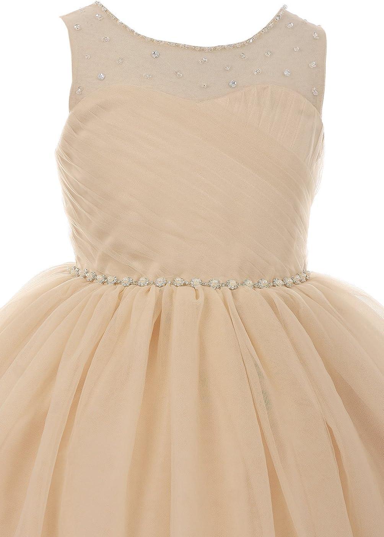 Girls Dress Illusion Neckline Rhinestones Junior Bridesmaid Flower Girl Dress