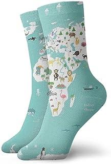 tyui7, Medias deportivas transpirables para hombres y mujeres Medias de dibujos animados para niños Bosque de animales Mapa de animales Divertidos calcetines de poliéster 30 cm (11.8 pulgadas)