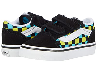 Vans Kids Old Skool V (Infant/Toddler) ((Neon Glow Check) Black/Multi) Boy