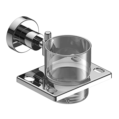 Amity Sogo Stainless Steel Tumbler Toothbrush Holder, Wall Mounted for Bathroom and Wash Basin, with Chrome Finish