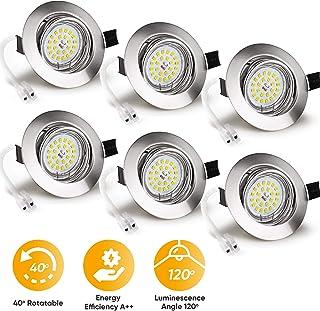 Wowatt Ojos de Buey de Led 6W Blanco Cálido Foco Empotrable LED Techo 2800k Incluye AC 220V 6W Bombillas Gu10 600lm Equivalente a Halogeno 50W Luz de Techo Agujero Ø68-80mm redondo Pack de 6