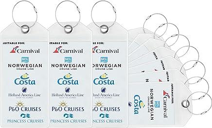Travelambo Cruise Tags Luggage Etag Holders Zip Seal & Steel Loops Thick PVC