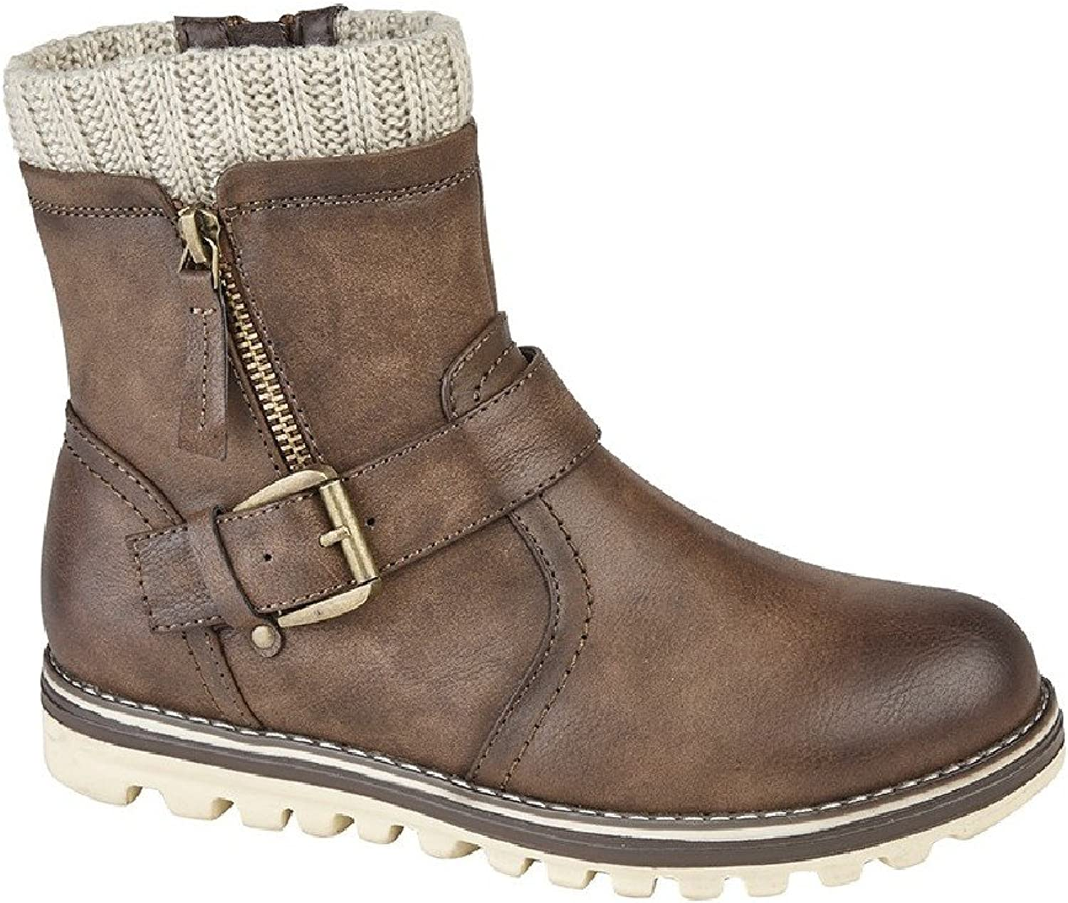 Cipriata Womens Ladies Clarissa Knitted Collar Buckle Ankle Boot
