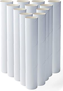 Genie Crafts 12-Pack Craft Rolls - 10 Inch Paper Cardboard Tubes for Kids, DIY, Classroom and Art Projects, White