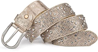 Women's Silver Gray Retro PU And Cow Composite Rhinestone Studded Rivets Western Belt