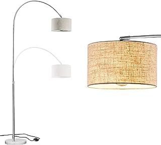 WUDSEE Lampadaire Arqué avec Pied en Marbre et Abat-jour en Tissu pour Ampoule E27 max.60w Hauteur Réglable de 125 à 180 c...