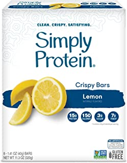 SimplyProtein Crispy Bar Singles. Clean and Light Crispy Bars with Plant Based Protein. (Lemon, 8 Pack)