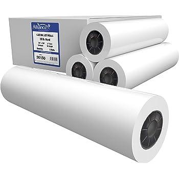 "Alliance CAD Paper Rolls, 30"" x 150', 96 Bright, 20lb - 4 Rolls Per Carton - Ink Jet Bond Rolls with 2"" Core."