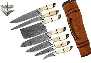 G26- Professional Kitchen Knives Custom Made Damascus Steel 7 pcs of Professional Utility Chef Kitchen Knife Set with Chopper/Cleaver White & Black GladiatorsGuild