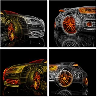 Hello Artwork - Abstract Canvas Wall Art Colorful Cars 3D Model Design On Black Background Picture Painting for Home Decoration Stretched Canvas and Ready to Hang 12''x12''x4pcs