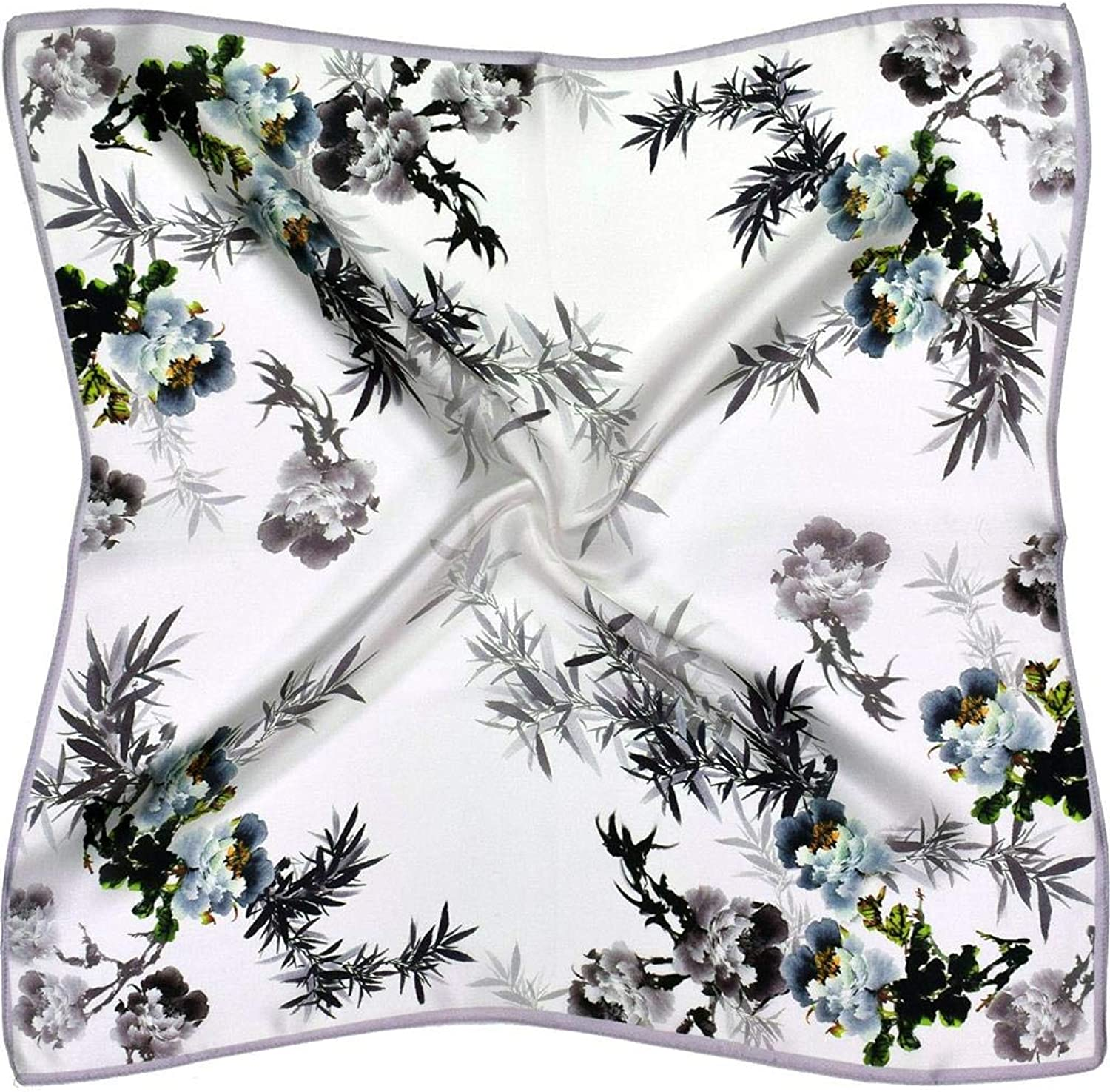 White Green Leaves Small Thick Silk Square Scarf